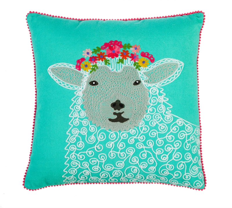 FARMHOUSE SHEEP Embroidered Pillow