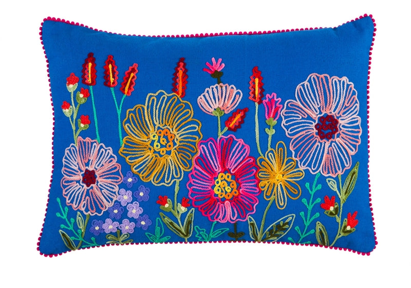 FLOWER GARDEN Embroidered Lumbar Pillow