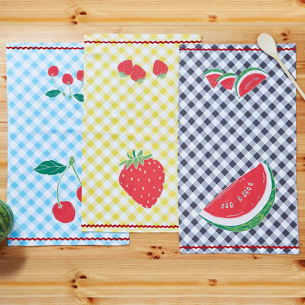 Fresh-Picked Fruit Tea Towel & Basket (3 Styles)