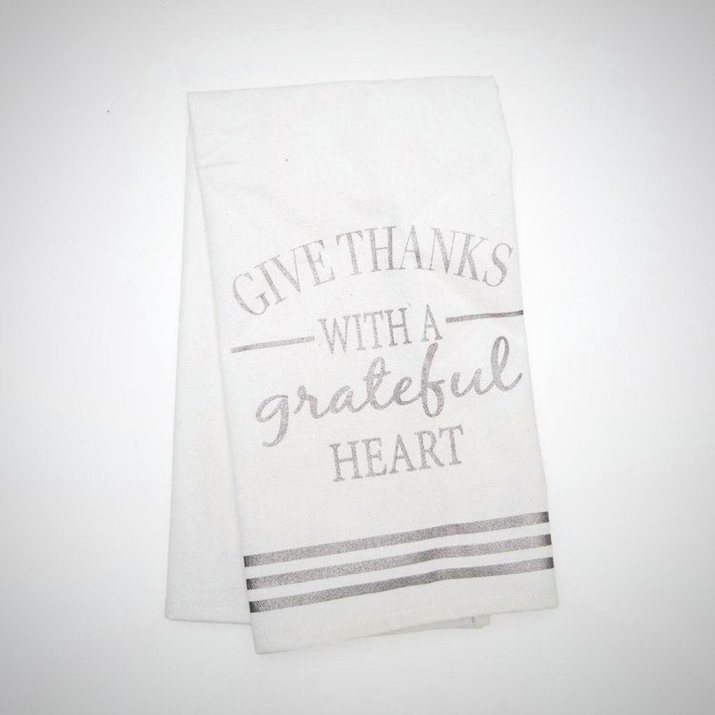 """Give Thanks With A Grateful Heart"" Linen Tea Towel - 24"" x 17"""