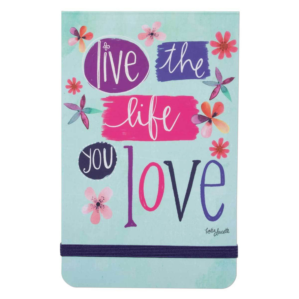 With 136 lined pages and elastic band closure, our Simple Inspirations Live The Life You Love Pocket Notepad features fun floral artwork, along with an inspiring & motivational message from artist, Katie Doucette
