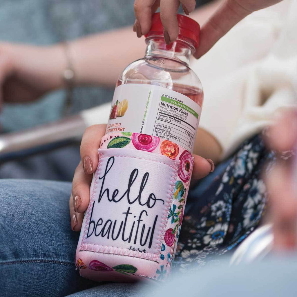"Inspirational sentiment, ""Hello Beautiful"" and fun artwork makes this pocketed drink sleeve, from the Simple Inspirations Collection, a practical, inspirational & fun treat for yourself or a friend."