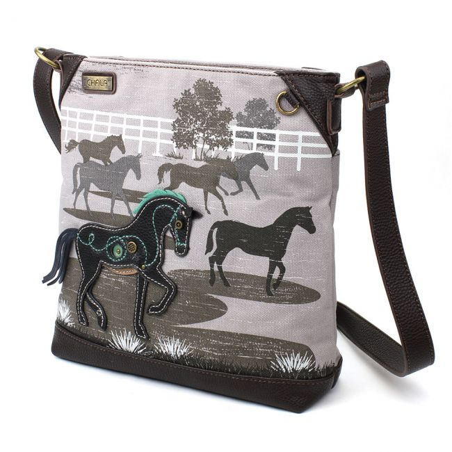 Safari HORSE Gray Canvas Crossbody