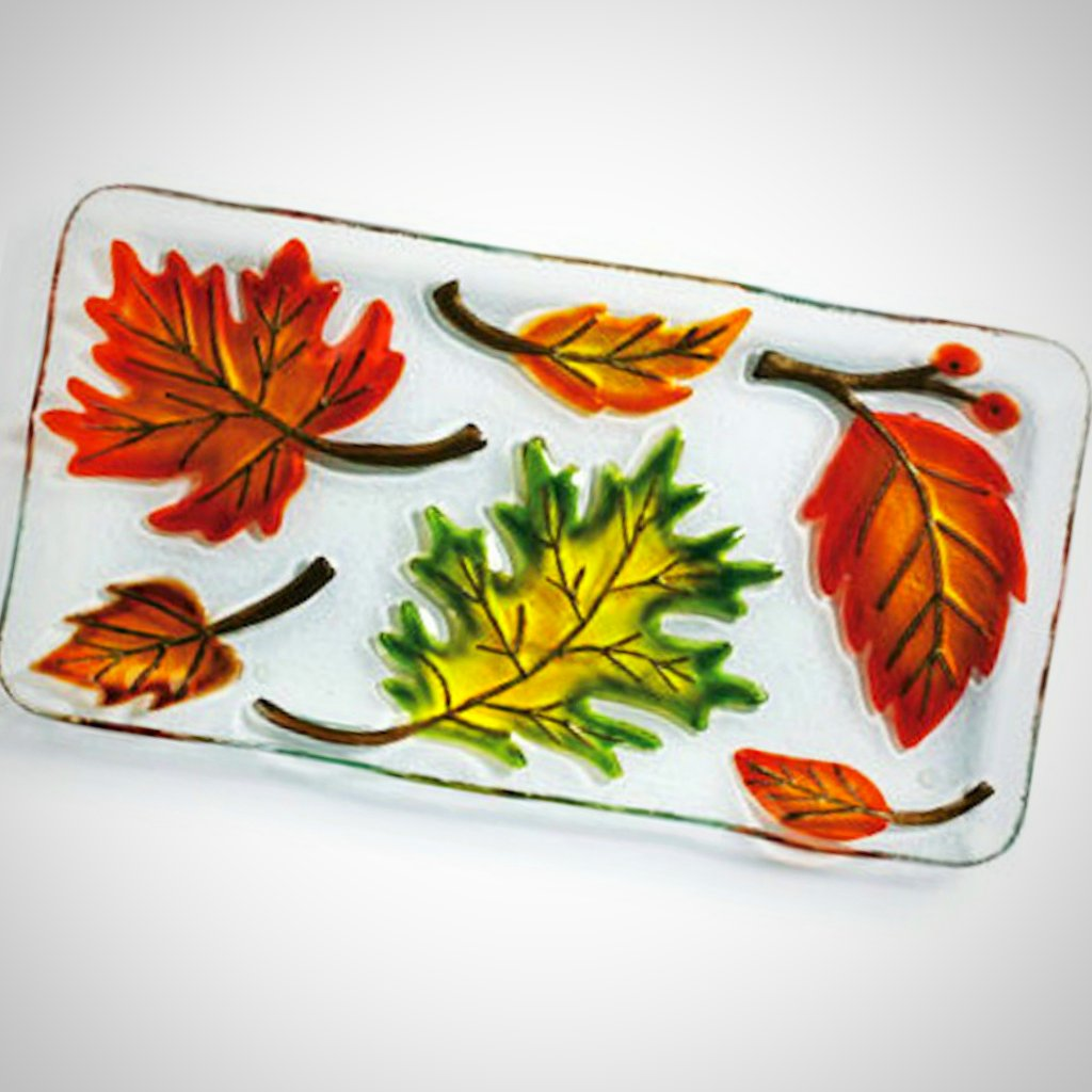 Fall Leaves Glass Fusion Platter