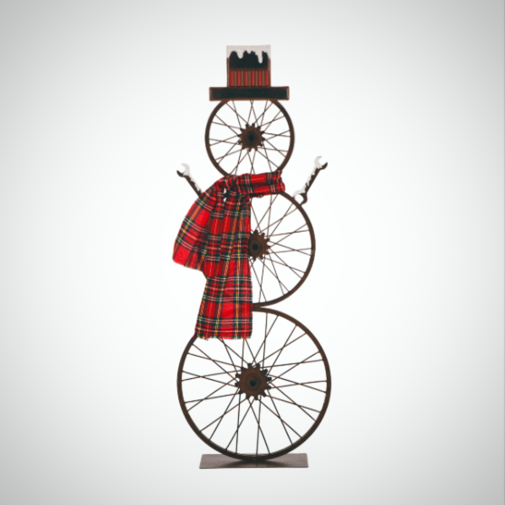 "Bike Wheel Snowman - 34"" Tall (Free Standing)"