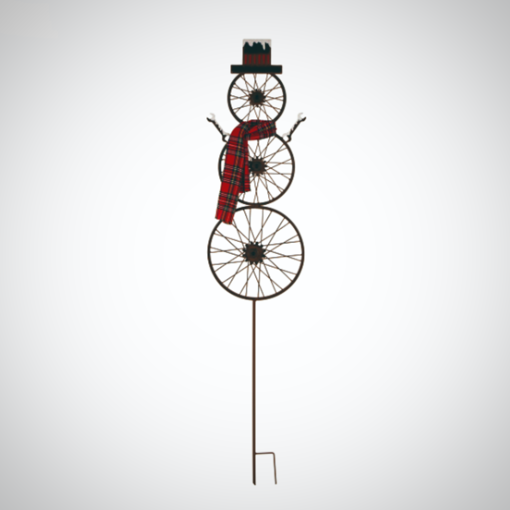 "Bike Wheel Snowman Yard Stake - 60"" Tall"