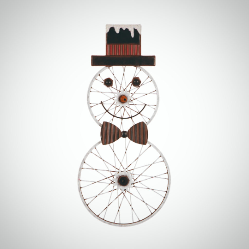 "Bike Wheel Snowman Wall Decor - 28"" Tall"