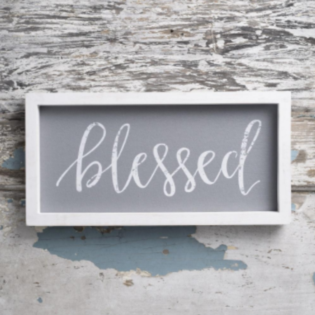 "Blessed - 16"" x 8"" Framed Linen"