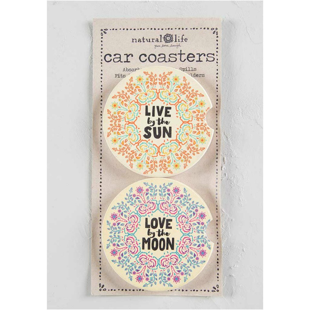 Live By The Sun-Love By The Moon Car Coaster Set