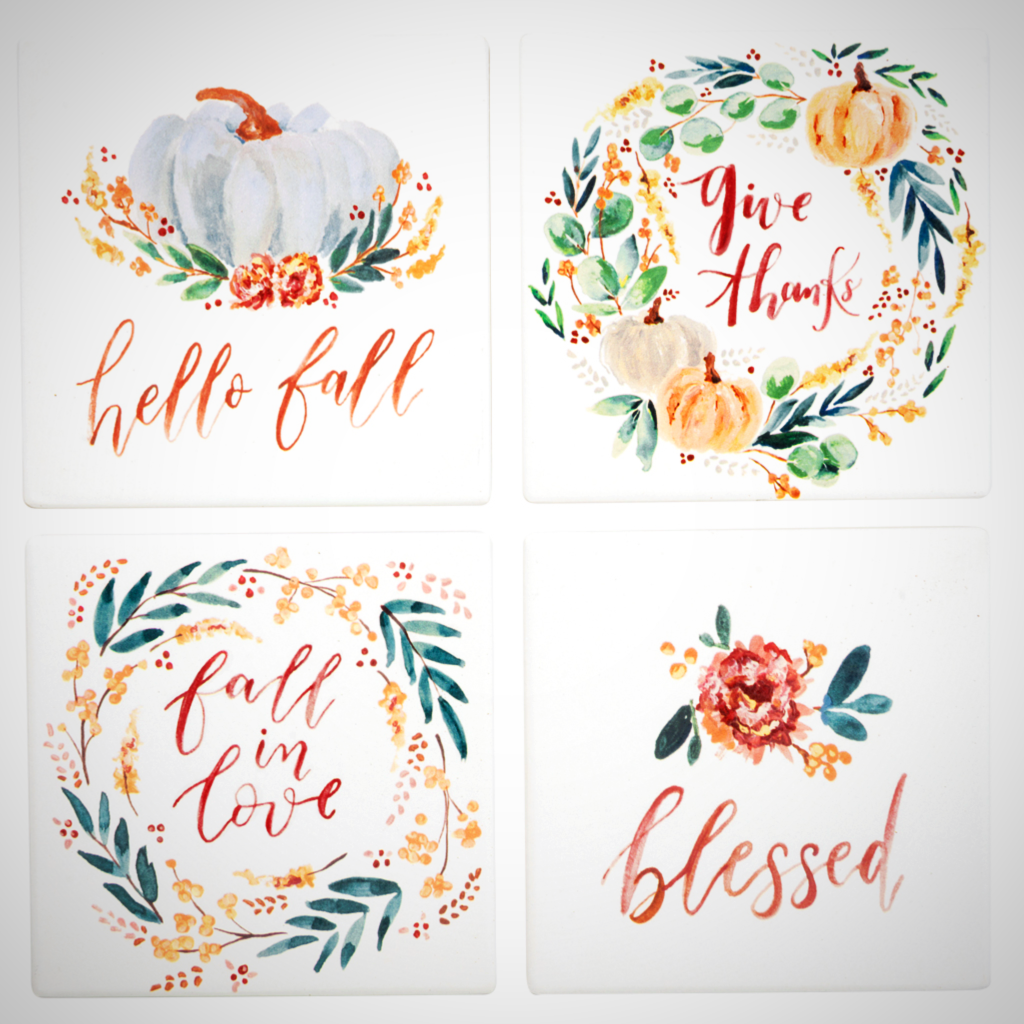 Fall Blessings Watercolor Coaster Set