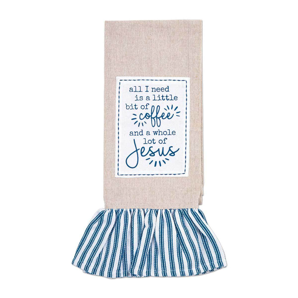 COFFEE & JESUS Ruffle Tea Towel