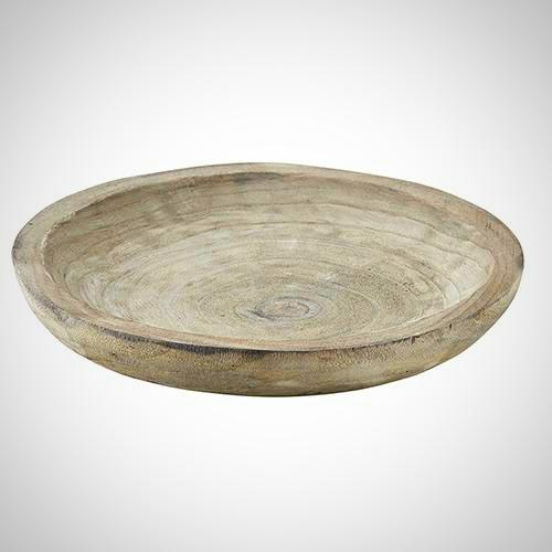 Gray Paulownia Wood Bowl - 10.5""