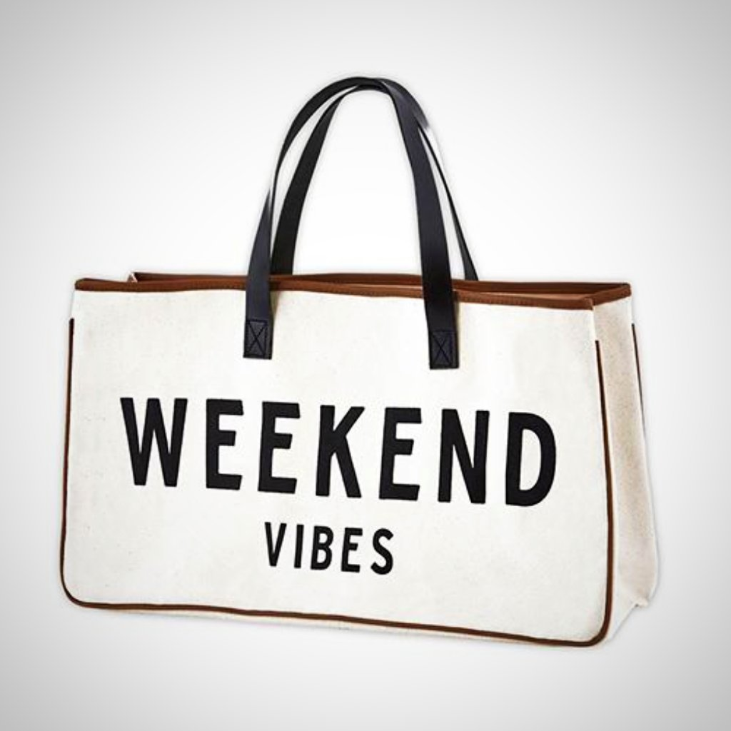 "WEEKEND VIBES Canvas Tote - 20"" x 11"""