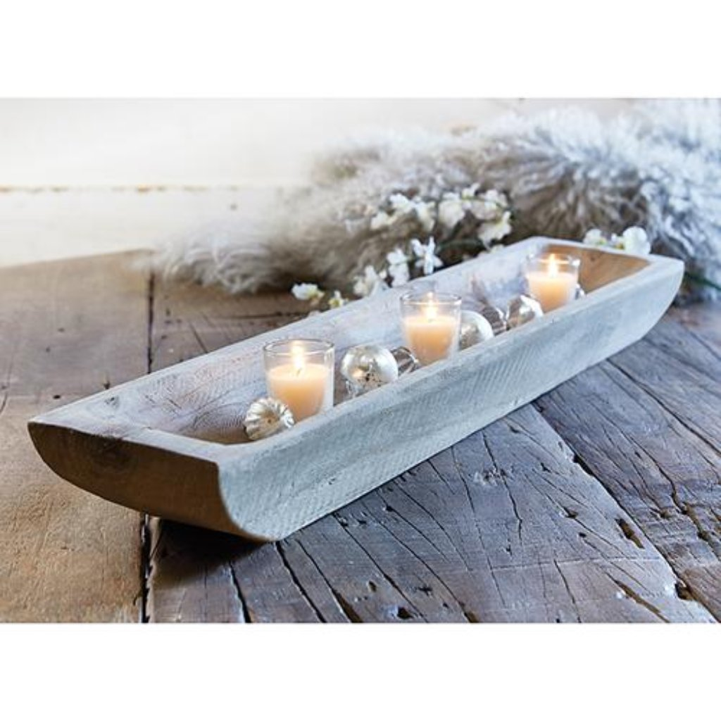 Gray Paulownia Wood Rectangle Tray - 26""