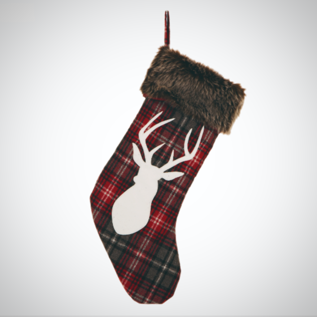 """Fur"" Trimmed Stag Head Stocking"