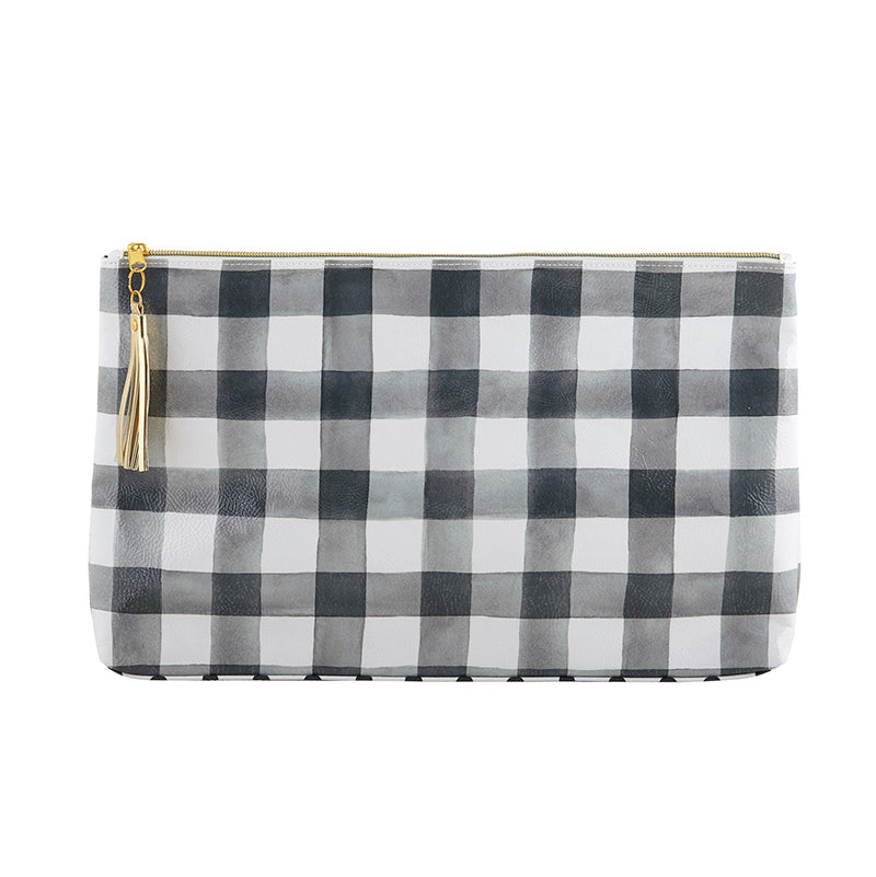 """Buffalo Check"" Oil Cloth Bag leaves nothing to be desired - gold tone zipper and metallic tassel are the perfect accent for this simple but, trendy Buffalo Check Pattern Bag from Meredith Wing."
