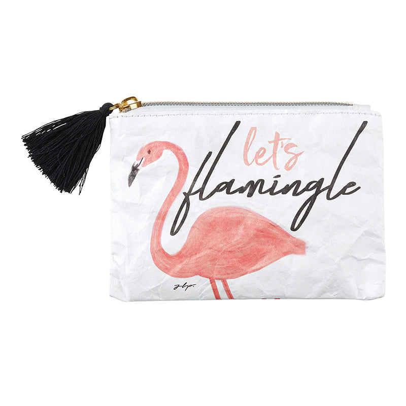 Let's Flamingle Coin Purse with the world's favorite pink bird, from Meredith Wing, is EVERYTHING - featuring black tassel accent, zipper closure, and double-sided art this Tyvek Coin Purse is Lightweight , Recyclable, Durable, & Waterproof.