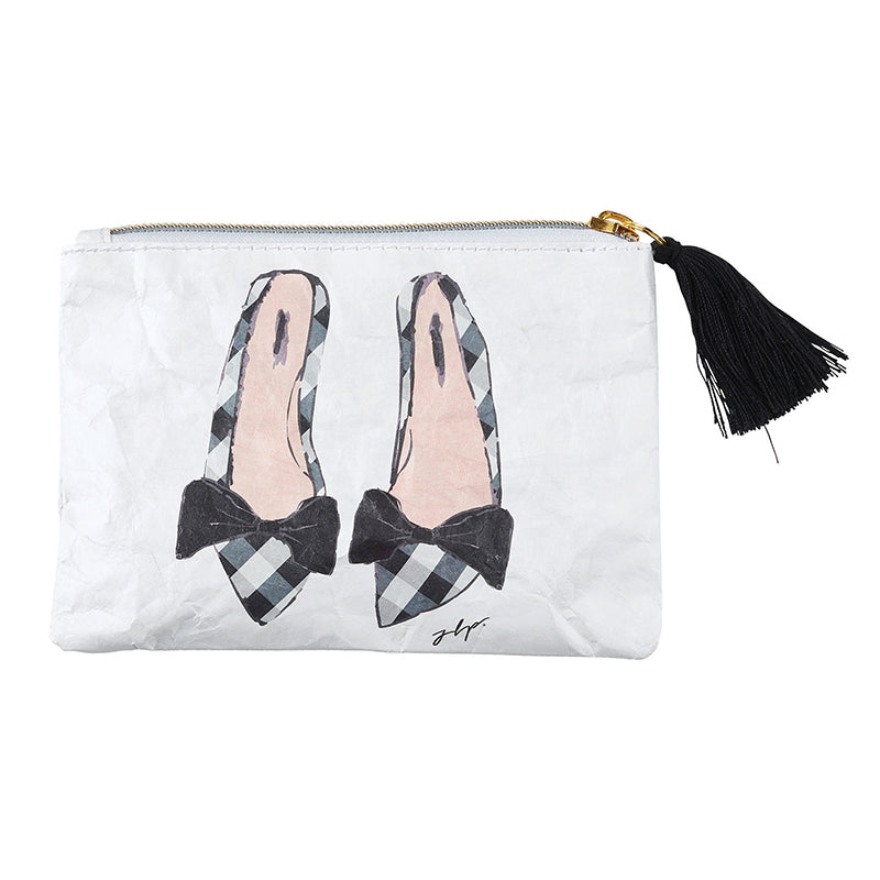 Pink Shoes Coin Purse with adorable bow trimmed shoes, from Meredith Wing, is EVERYTHING - featuring black tassel accent, zipper closure, and double-sided art this Tyvek Coin Purse is Lightweight , Recyclable, Durable, & Waterproof.
