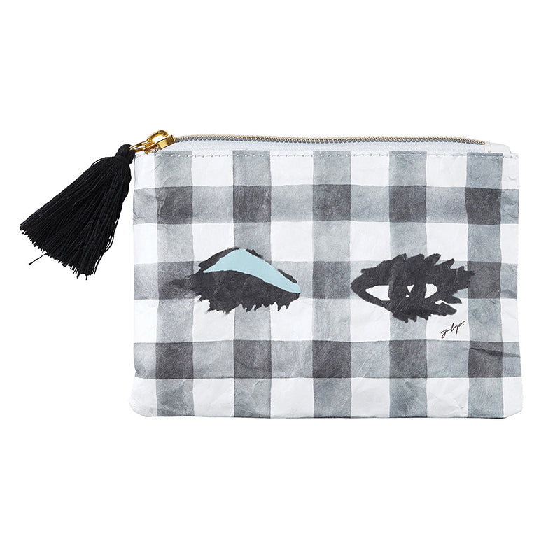 Black tasseled Wink Wink Coin Purse with black & white check background and adorable eyelash art, from Meredith Wing, is EVERYTHING - featuring black tassel accent, zipper closure, and double-sided art this Tyvek Coin Purse is Lightweight , Recyclable, Durable, & Waterproof.