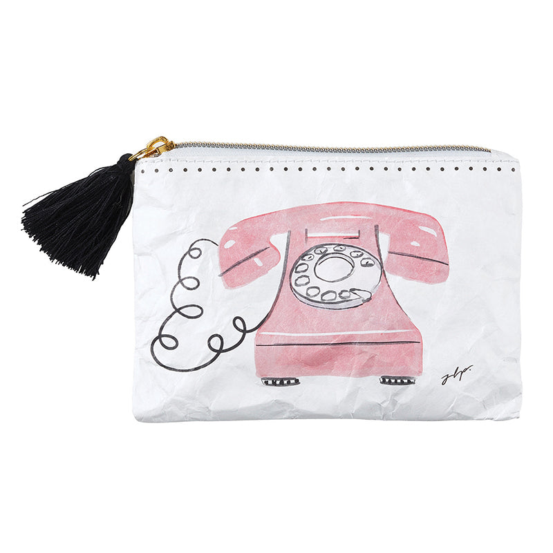 Hello, Are You There???  Just phoning in to let you know... this coin purse will look gorgeous on YOU!  Black tasseled Hello Gorgeous Coin Purse with adorable vintage telephone art, from Meredith Wing, is EVERYTHING - featuring black tassel accent, zipper closure, and double-sided art this Tyvek Coin Purse is Lightweight , Recyclable, Durable, & Waterproof.