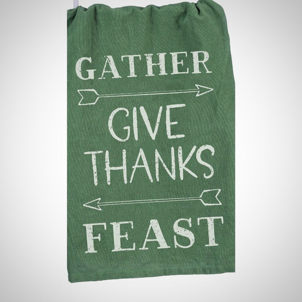 """Gather-Give Thanks-Feast"" Tea Towel - 28"" x 28"""