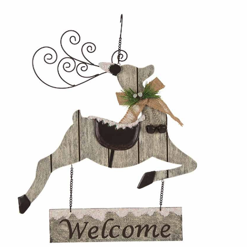 "Grey Reindeer Welcome Sign -19.5"" Tall"