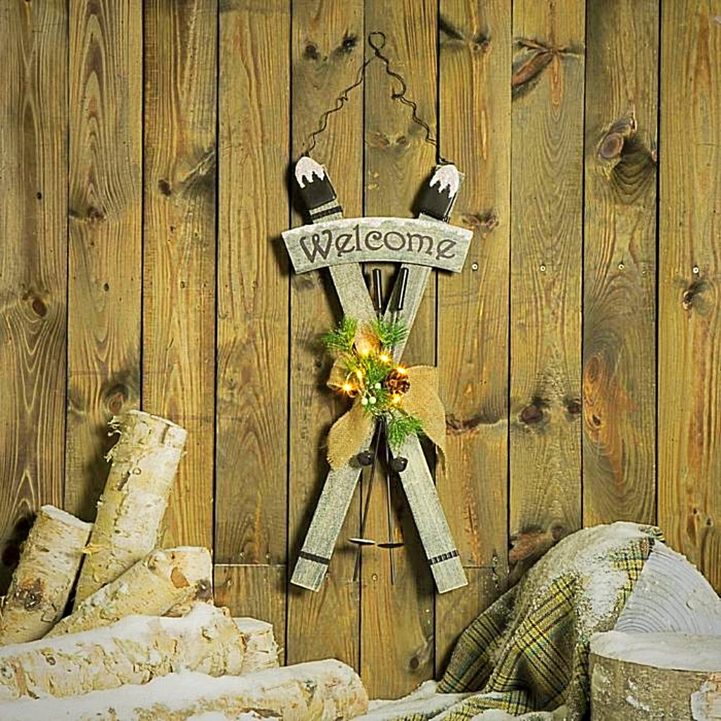 "Crossed Ski Welcome Sign - 24""5 Tall"