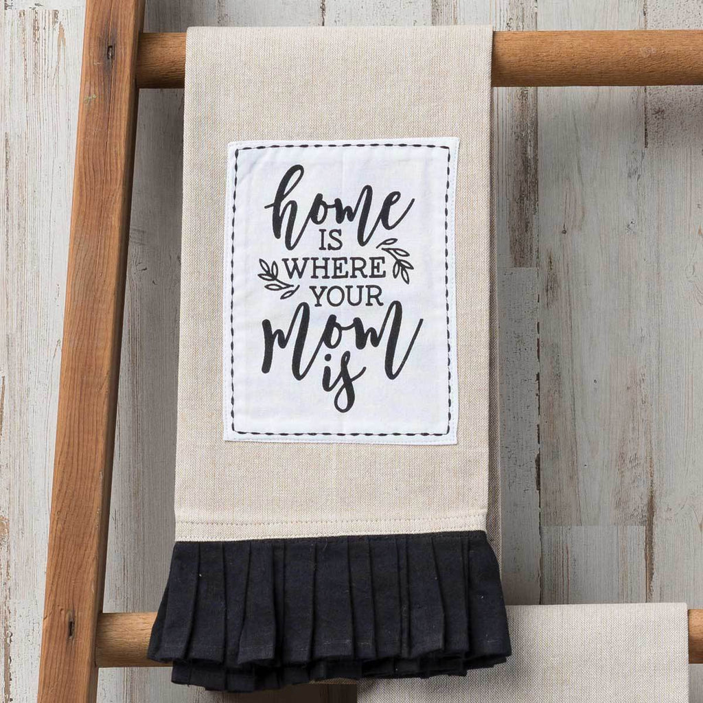 WHERE YOUR MOM IS Pleated Tea Towel
