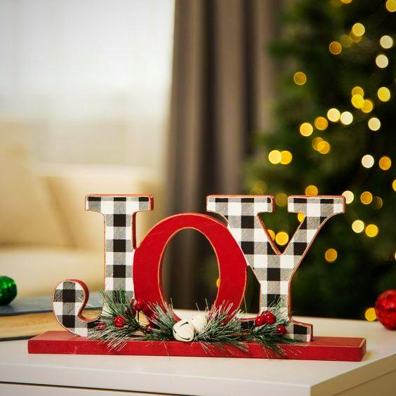 "Black & White Plaid ""JOY"" or ""NOEL"""