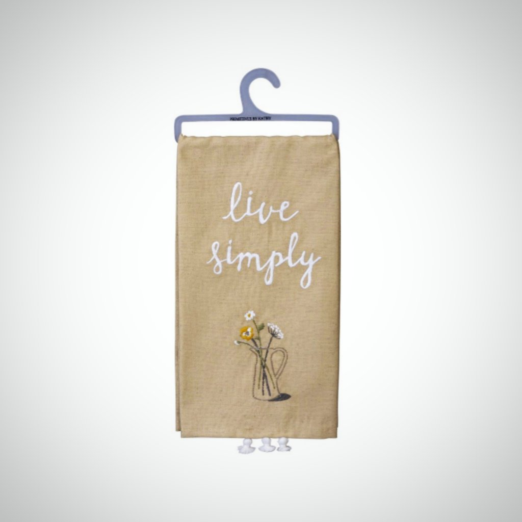 """Live Simply"" Tasseled Tea Towel"