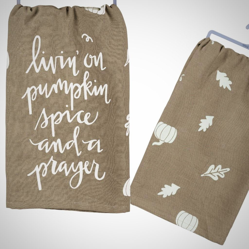 """Living On Pumpkin Spice & A Prayer"" Tea Towel - 28"" x 28"""