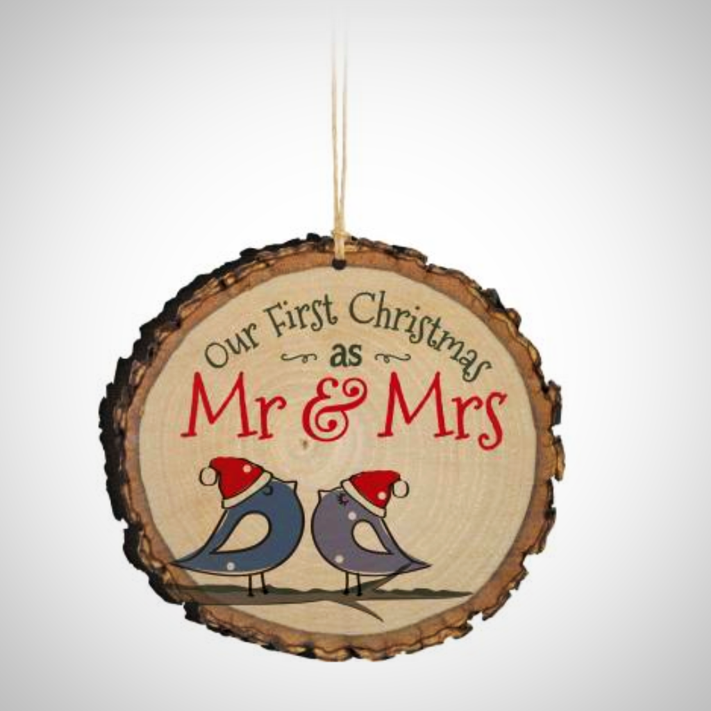 "Our First Christmas as Mr & Mrs ""Bark Edge"" Ornament"