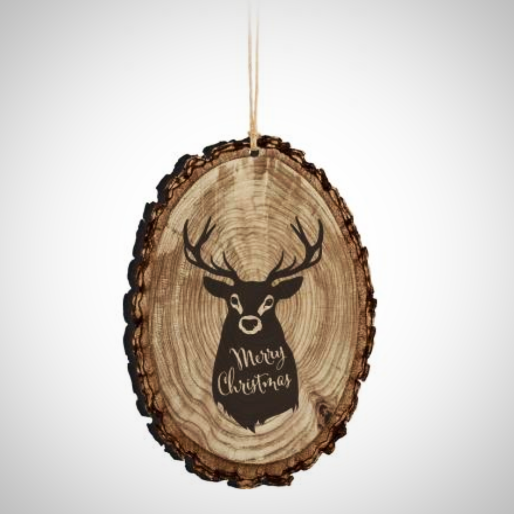 "Merry Christmas Deer Silhouette ""Bark Edge"" Ornament"