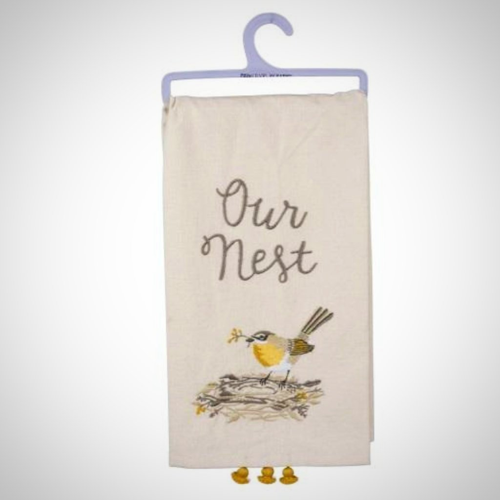 """Our Nest"" Tasseled Tea Towel"