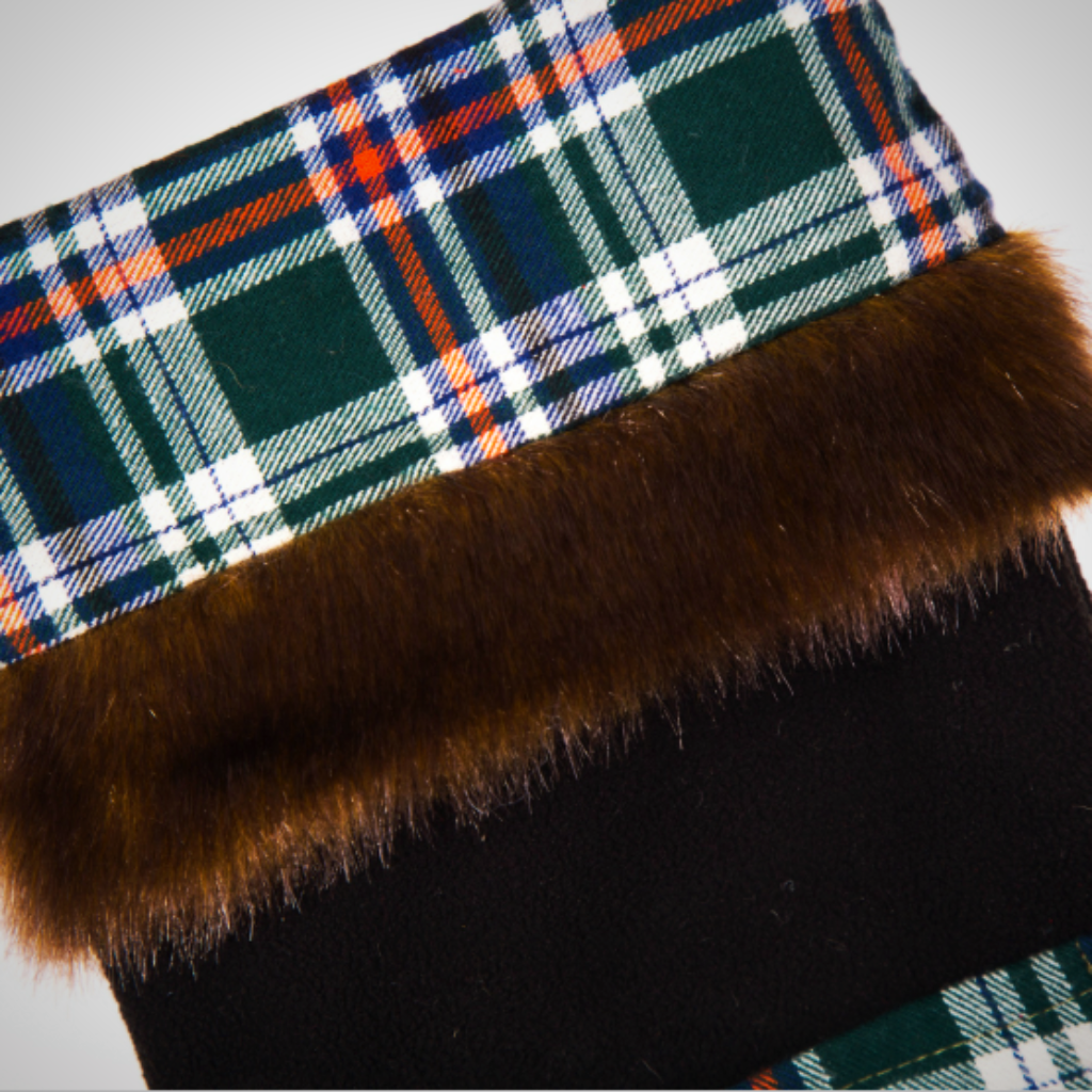 """Fur"" Trimmed Plaid Pocket Stockings - 2 Colors"