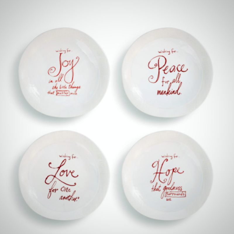 Poetic Threads Holiday Wishes Snack Plates - 4 Styles