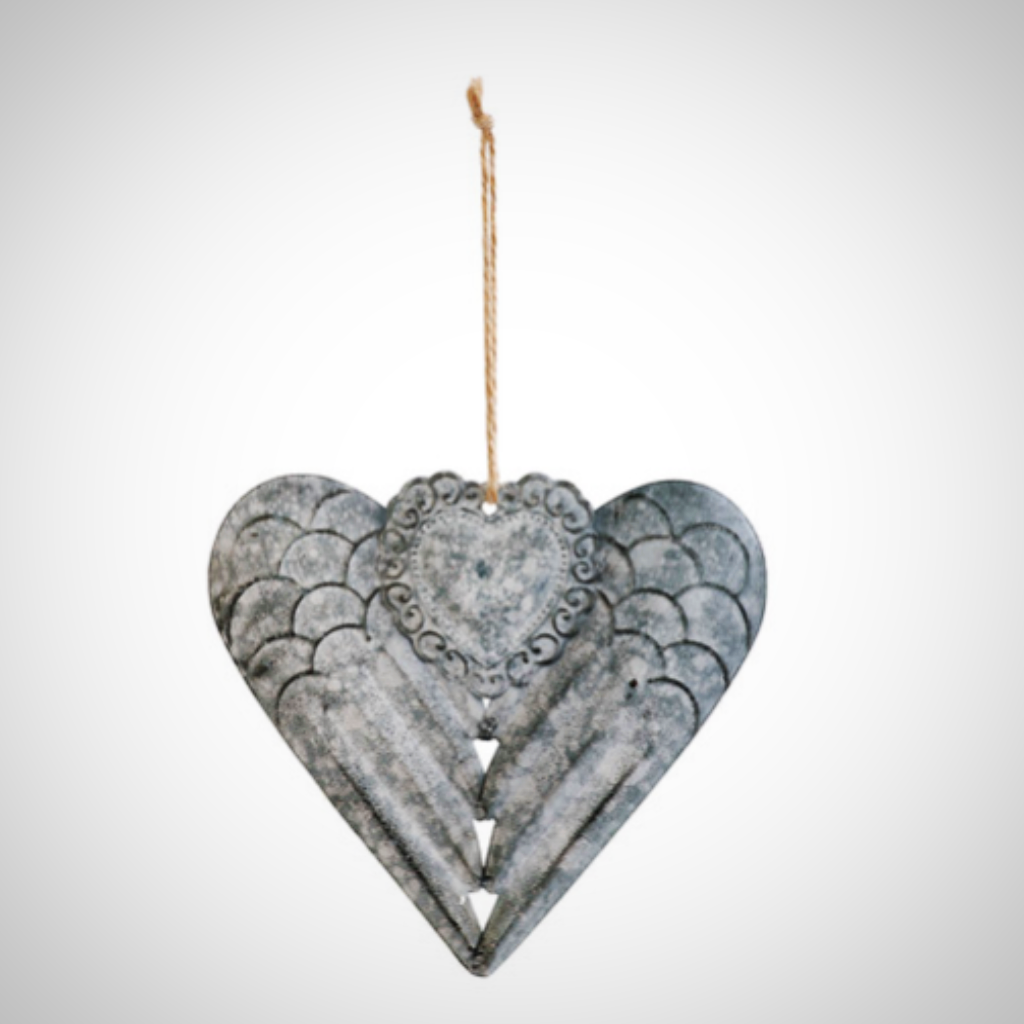 Poetic Threads Winged Metal Heart Ornament