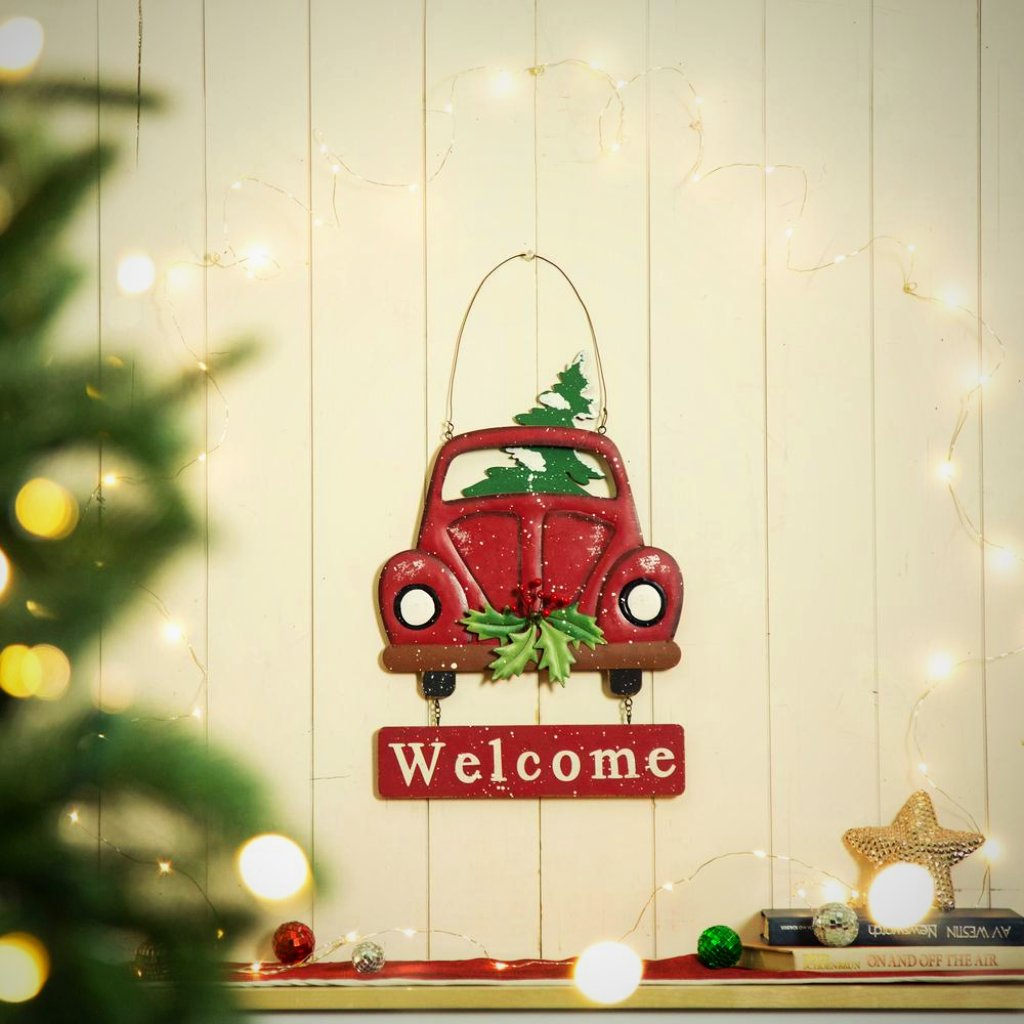 Red Volkswagen Beetle Welcome Sign