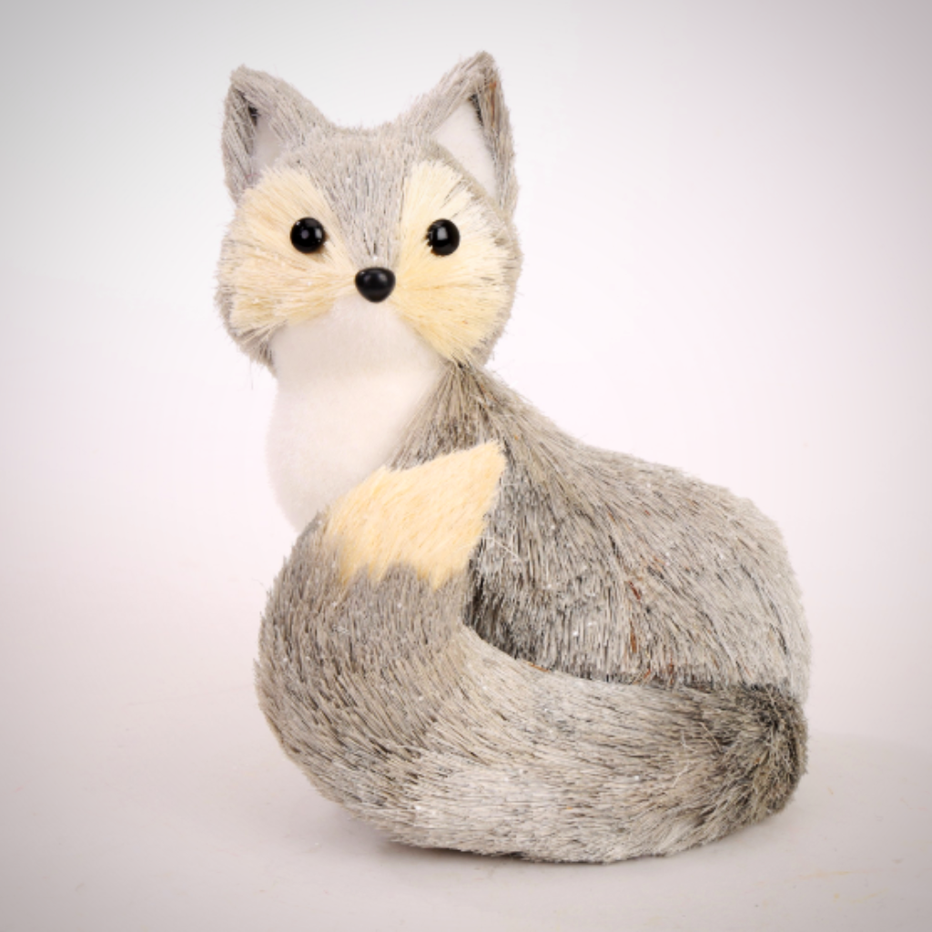 "Grey & White Sisal Fox - 8"" Tall"