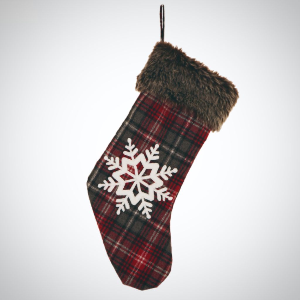 """Fur"" Trimmed Snowflake Stocking"