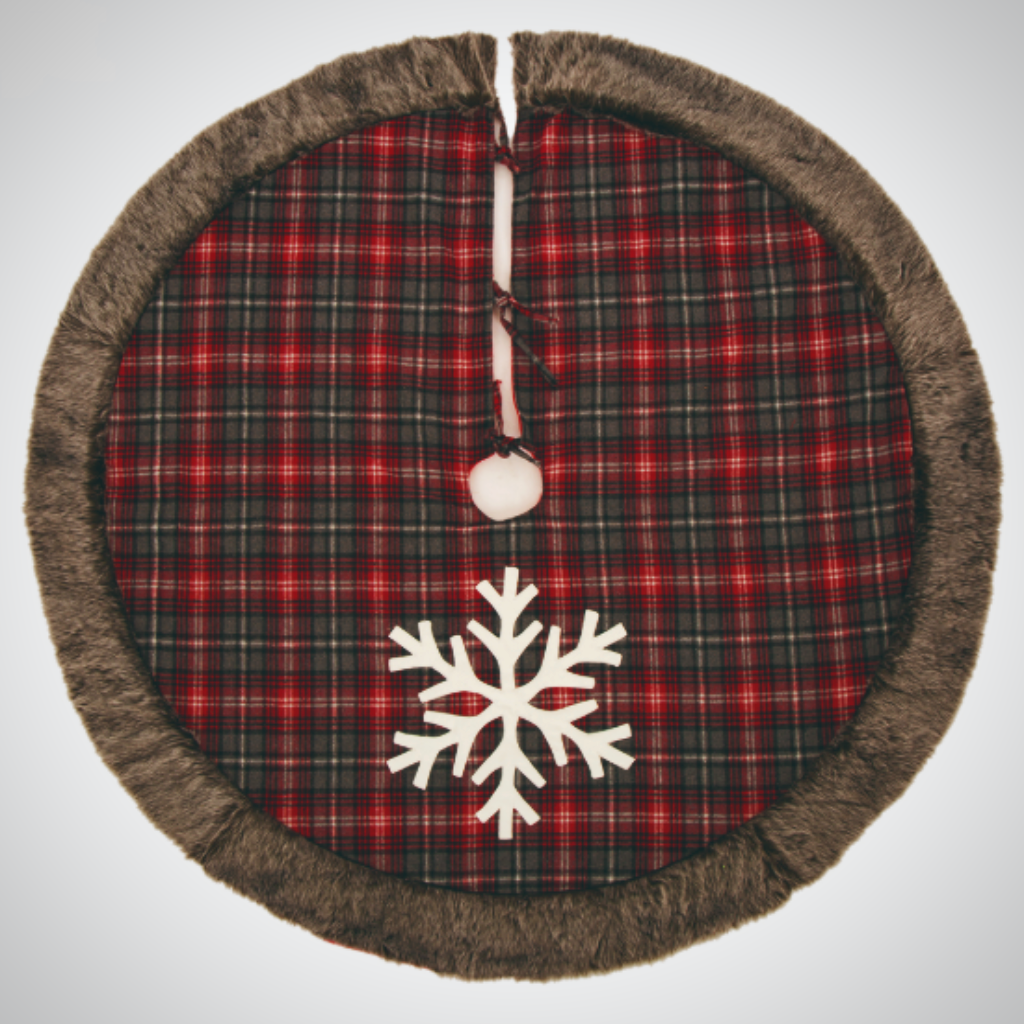"""Fur"" Trimmed Snowflake Tree Skirt - 48"""