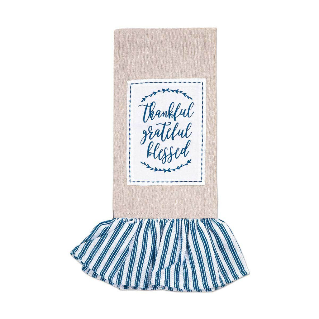 THANKFUL GRATEFUL BLESSED Ruffle Tea Towel