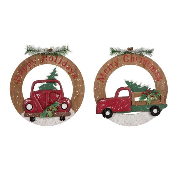 "Volkswagen or Farm Truck Greeting ""Wreath"" - 2 Styles"