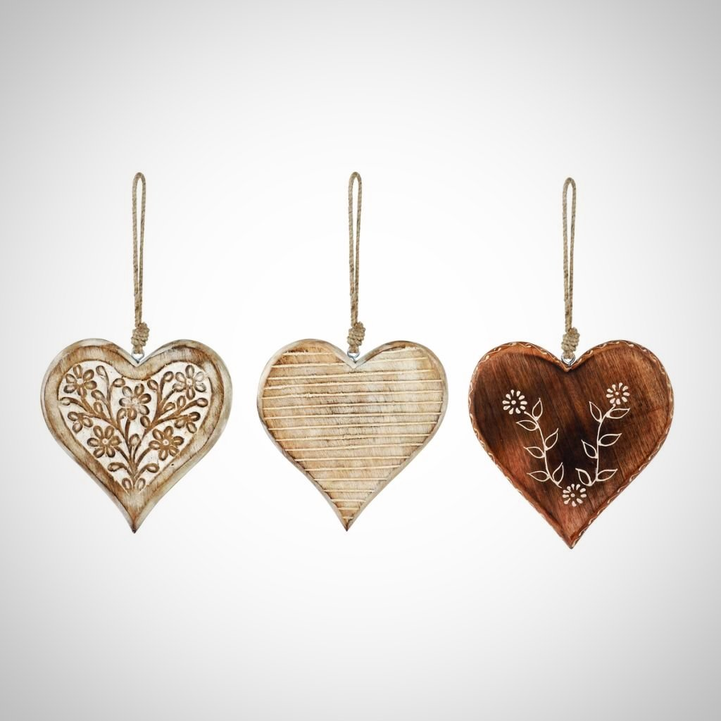 Poetic Threads White Washed Wood Heart Ornament - 3 Styles