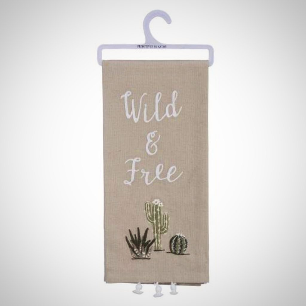 """Wild & Free"" Tasseled Tea Towel"