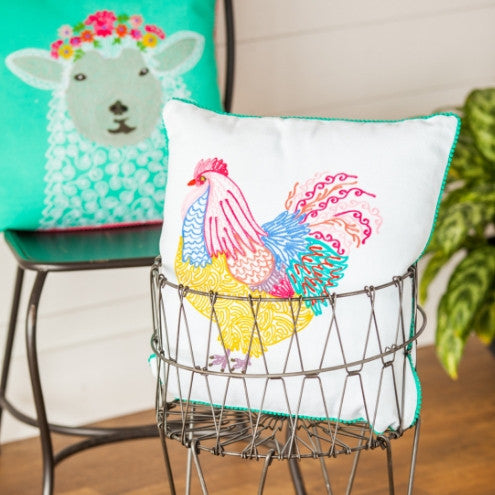 FARMHOUSE HEN Embroidered Pillow
