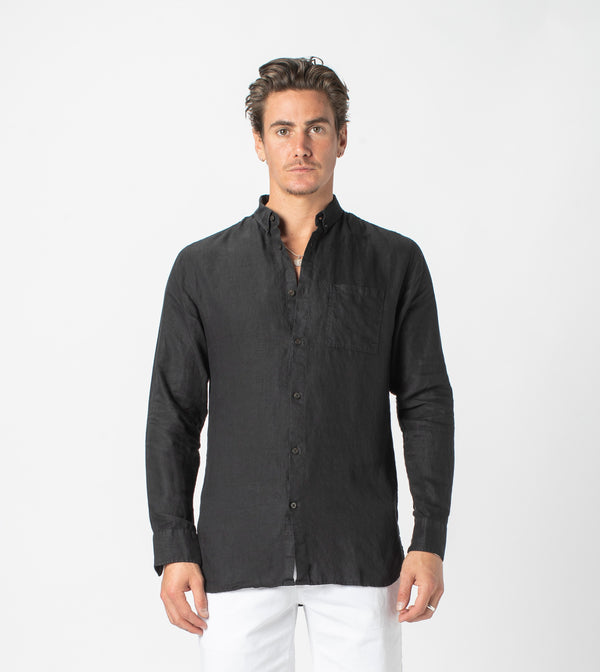 7 Foot LS Linen Shirt Black