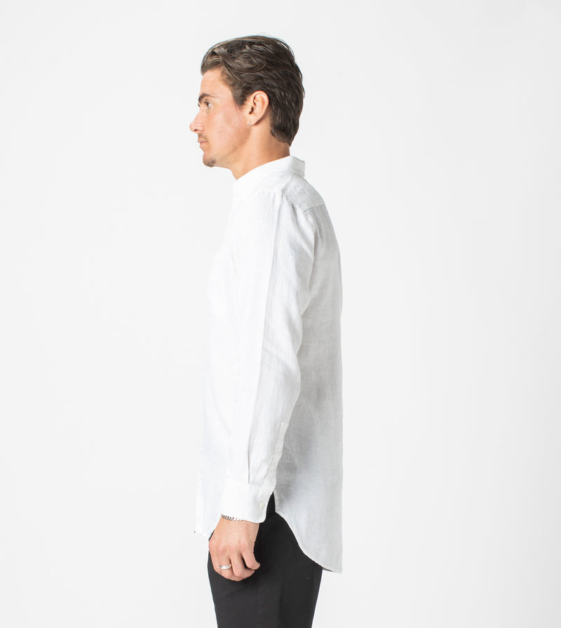 7 Foot LS Linen Shirt White