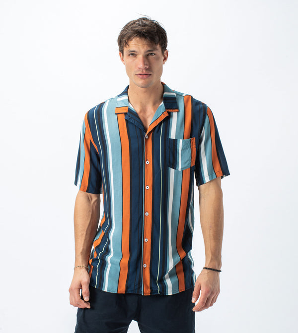 Bel Air Stripe SS Shirt Ocean/Clay