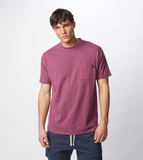 Slub Box Pocket Tee Acai - Sale